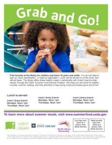 Lunch at The Library Grab and Go flyer v1