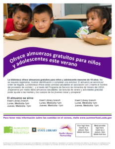 Spanish version of Lunch at The Library Feeding Kids and Teens flyer