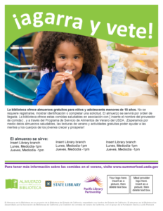 Spanish version of Lunch at The Library Grab and Go flyer